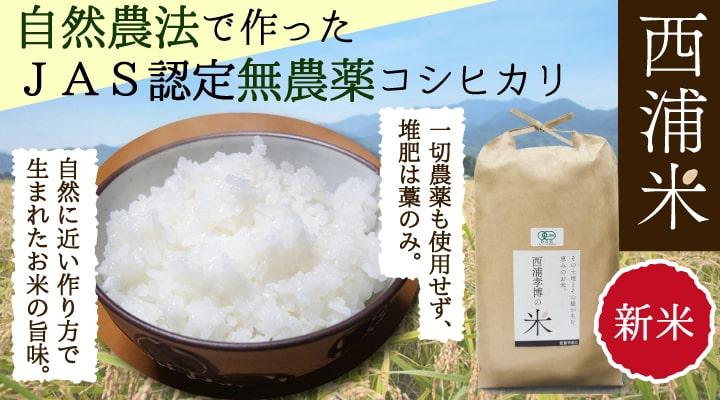 西浦米 JAS認定無農薬コシヒカリ