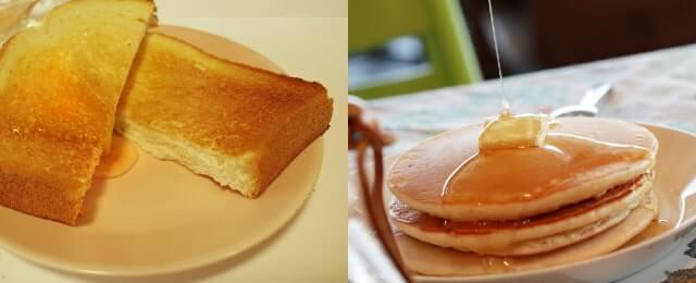 蜂蜜をかけたトースト・パンケーキ